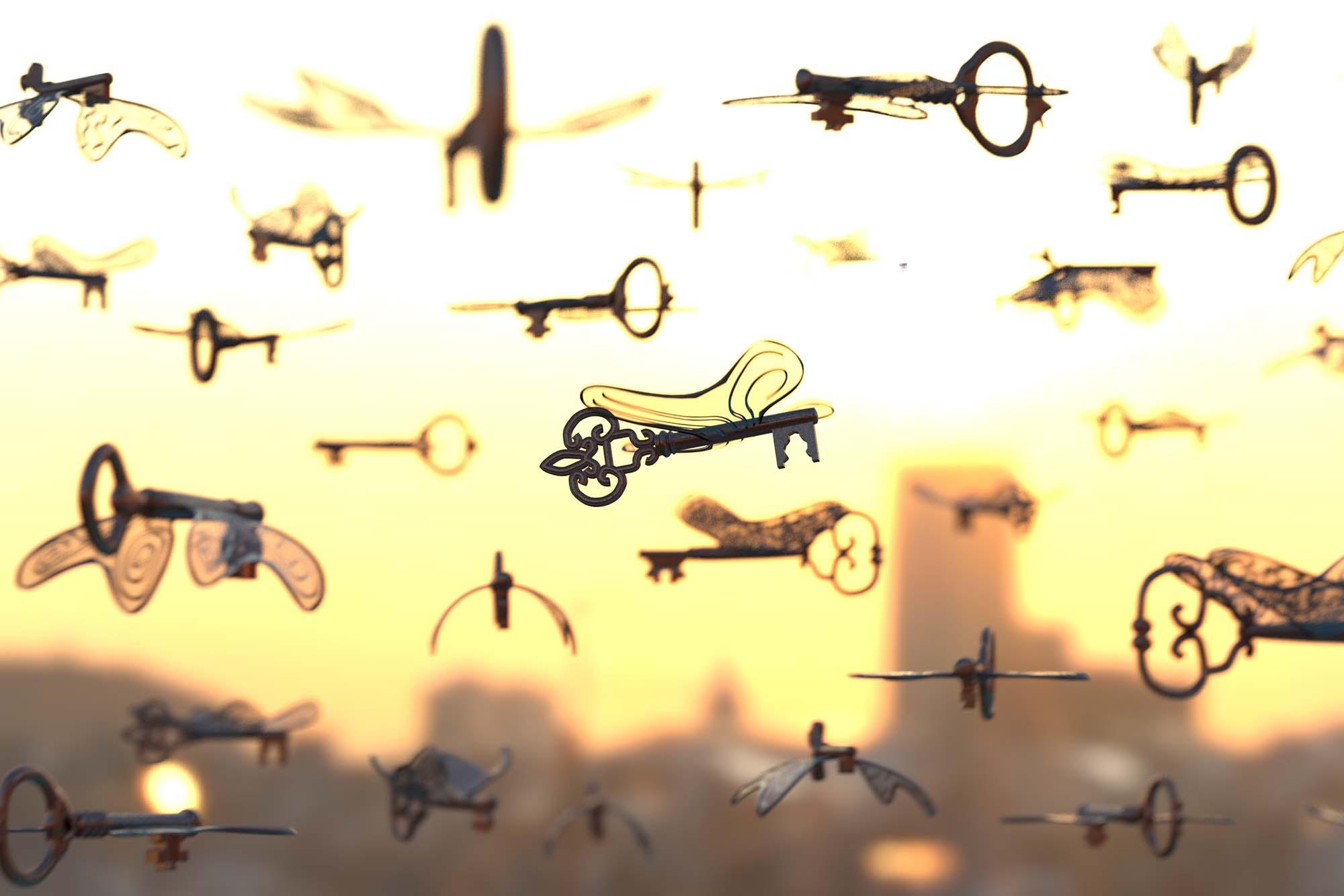 Flying Keys Art Print