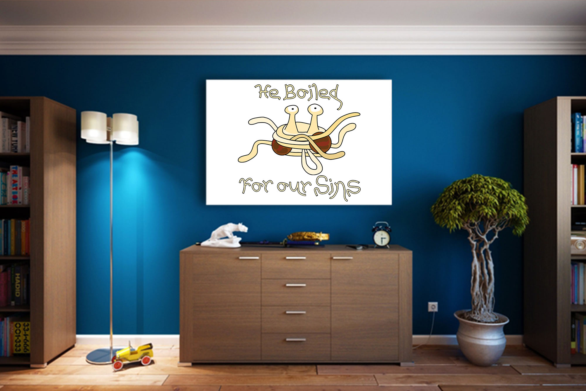 Flying Spaghetti Monster: He Boiled For Our Sins Art Print