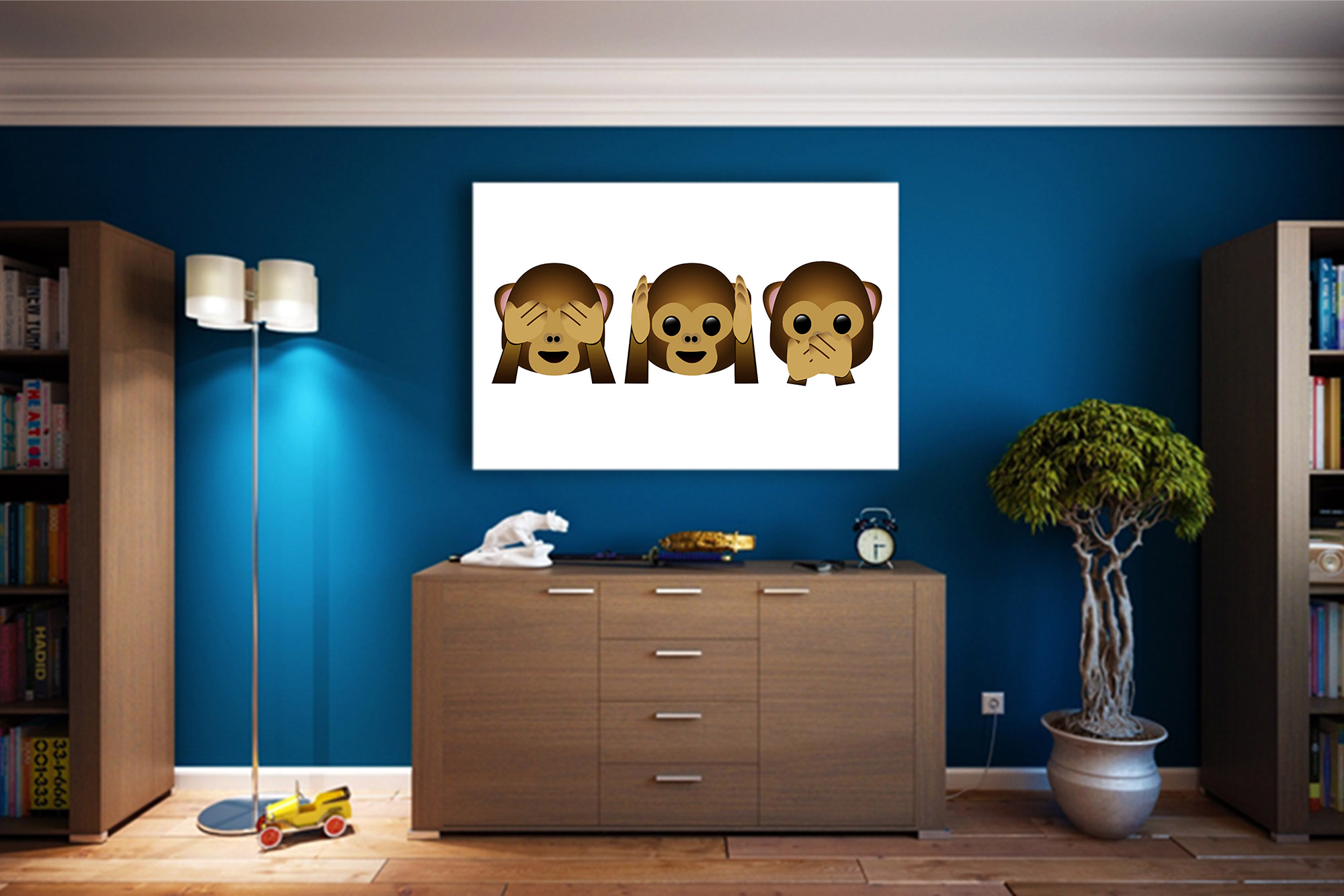 Hear No Evil See No Evil: Monkey Emoji Art Print